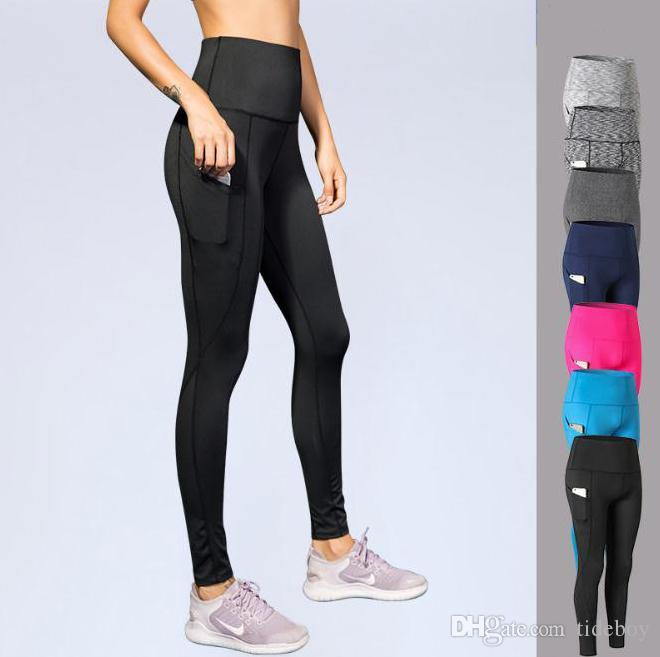 Women's Ultra High Waist Yoga Pants Oblique Pocket Fitness Running Training Stretch Quick Drying Tights Sports Pants