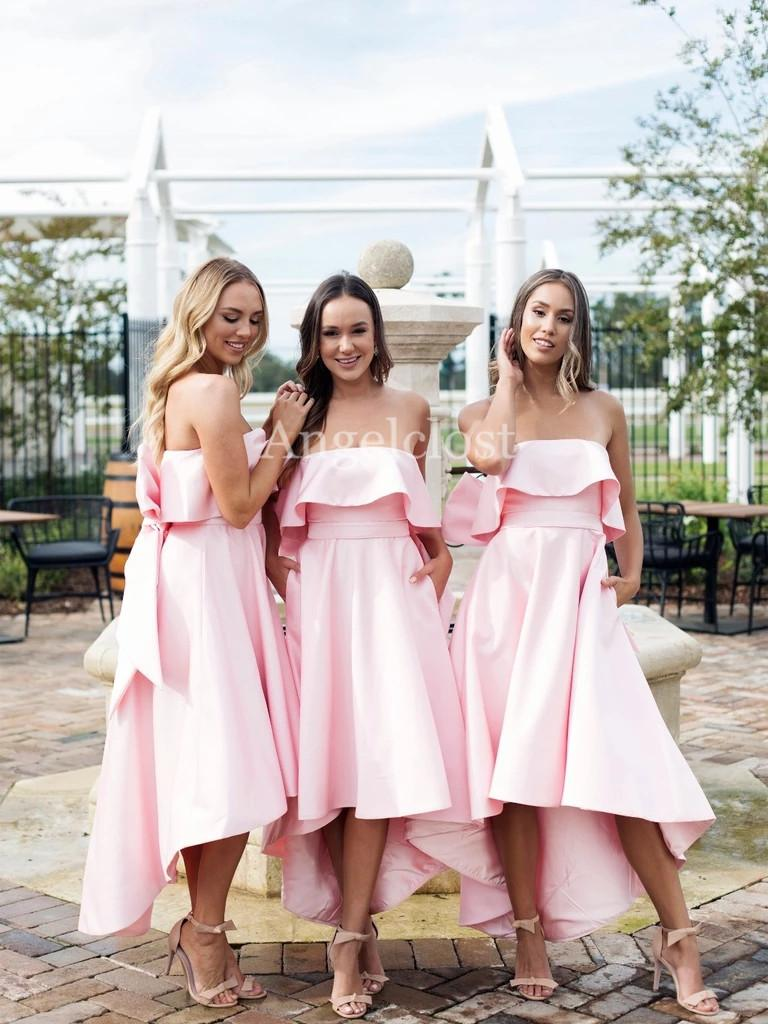 Hot Sale Blush Pink Hi-Lo Bridesmaids Dresses With Big Bow 2019 Strapless Backless Maid of Honor Gowns High Low Stain Wedding Guest Dresses