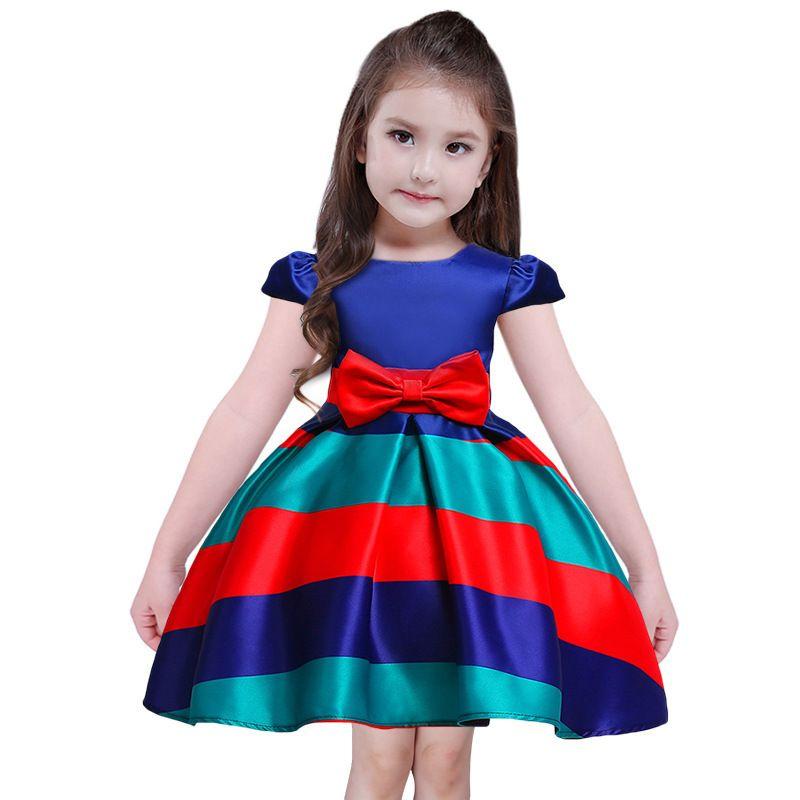 Acquista Strisce Colorate Vestito Da Ragazza Vestito Da Festa Di Nozze  Abiti Da Principessa Estivi Abbigliamento Bambini Di Alta Qualità A  36.48  Dal ... f3fcae8d8a5
