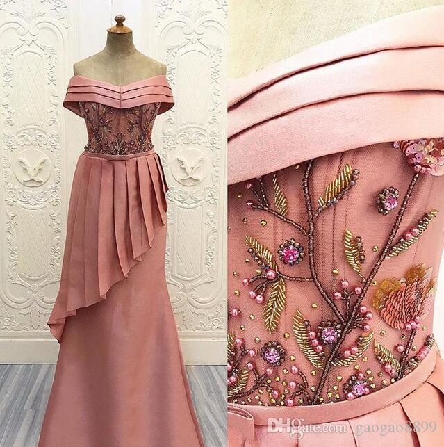 2019 fairy blush Evening Dresses sexy off shoulder beaded Embroidery prom gowns sheer african arabic fashion Party Dress gowns custom made