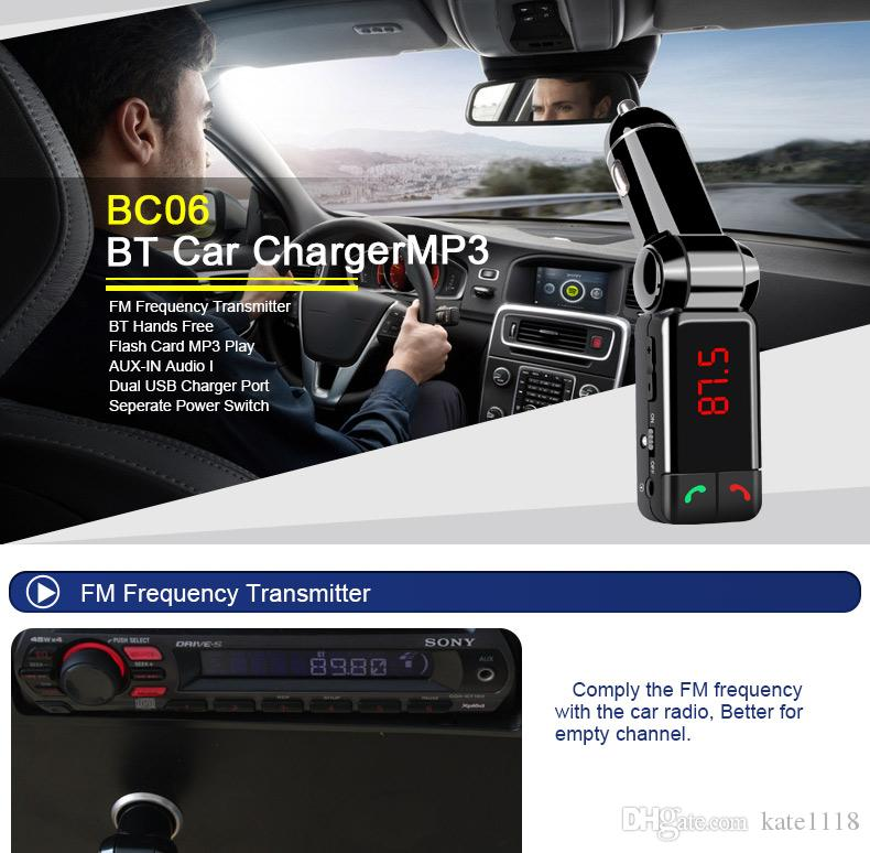 QiChen BC06 Bluetooth Car Charger BT Portable Car Transmitter Support MP3 MP4 Player AUX FM Mini Dual Port For Universal Smart Phone