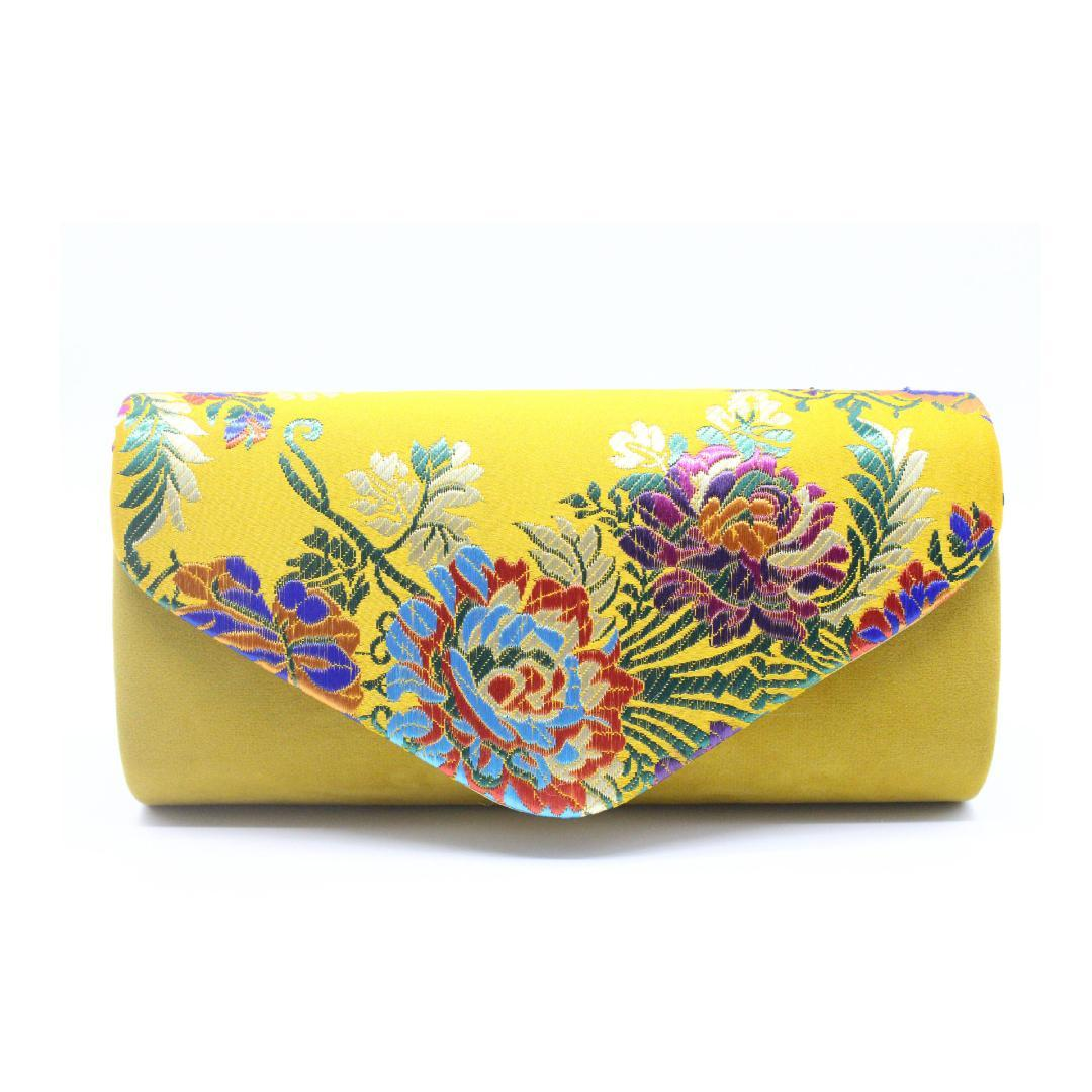 d869b59b02a Vintage Suede Clutch Bag Wedding Embroidered Flower Shoulder Bag With Sling Evening  Purse Bags Women'S Yellow Clutches Femininos