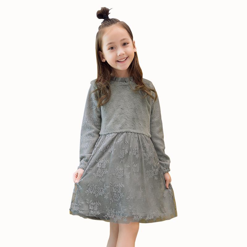 e82bdaa23a6e3 Autumn Winter Girls Dress 2018 Casual Long Sleeves LaceMesh Kids Thick  Dresses for Girl Clothing Cute Party Princess Dress