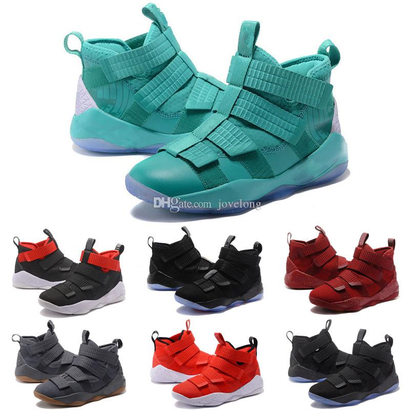 best authentic 9d326 a6008 2019 new James Soldier XI 11 Navy Blue Basketball Shoes Kids Shoes LeBron  Soldier XI 11 Black/Red/White sports sneakers