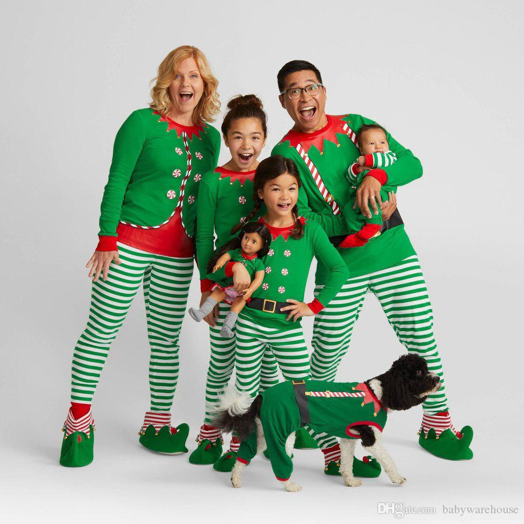 643ca9245 Family Christmas Pajamas 2019 Family Matching Clothes Sets New Year Mother Father  Kids Tops+Stripe Pants Sets Outfits Baby Jumpsuits Baby And Mommy Matching  ...