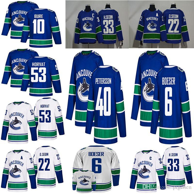huge discount ea5ed b1e45 2018-2019 Mens Vancouver Canucks #40 Elias Pettersson Hockey Jerseys  Stitched #6 Brock Boeser #53 Bo Horvat Vancouver Canucks Jersey
