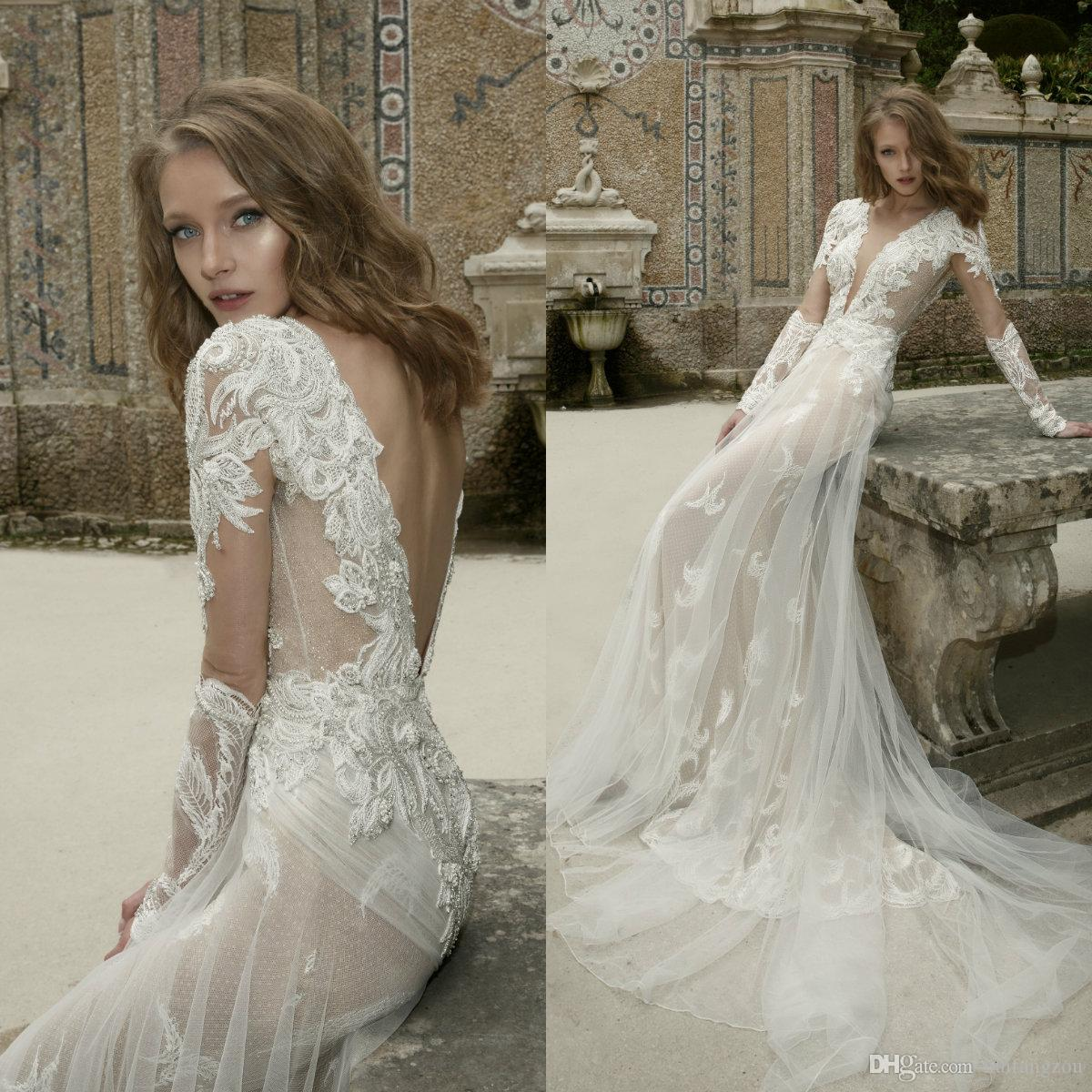 1eb920d94bb36 Discount Netta Ben Shabu 2019 Wedding Dresses Sexy Long Sleeve Appliques  Beaded Tulle Bridal Gowns Backless Designer Wedding Dress Plus Size Wedding  Dresses ...