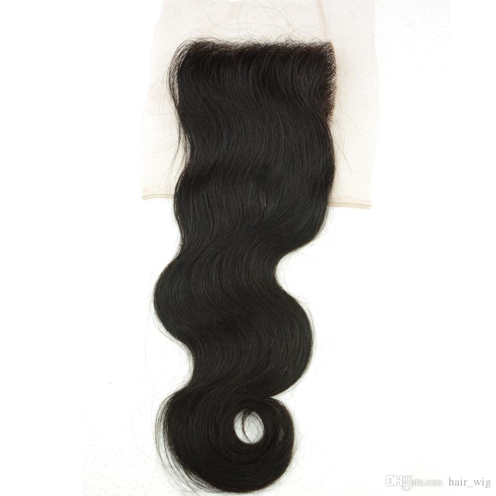 Free / Middle Part Lace Closure reines brasilianisches indisches peruanisches malaysisches Menschenhaar Stück Körperwelle 4x4 Top Closure unverarbeitetes billiges Haar