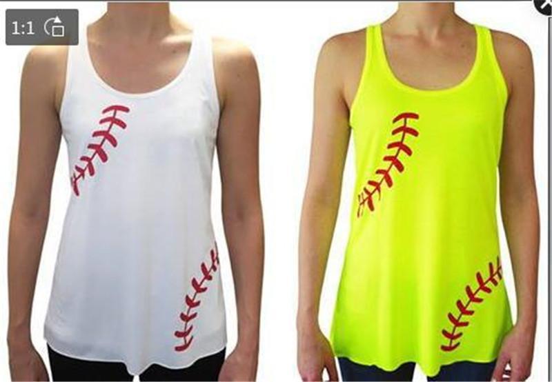 d934027d56e0 2019 Baseball Softball Women Stripe Vest Summer Strap Tank Tops Fitness Gym  Sports Waistcoat Sleeveless Shirts Beach Shirts Vest Tees A22705 From ...