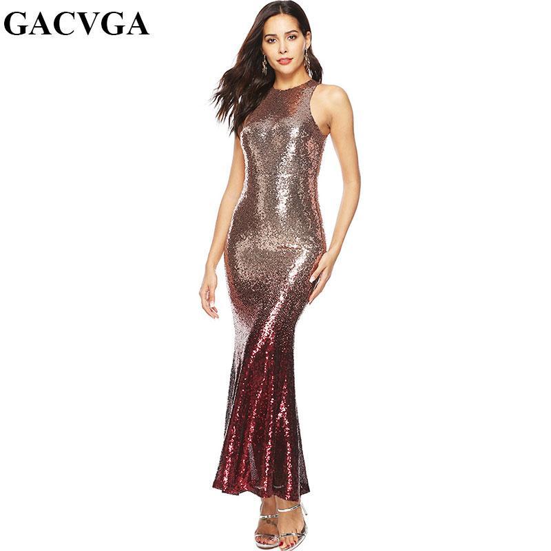 265d0d130 Compre GACVGA 2019 Vestido De Fiesta De Noche De Lentejuelas Maxi Mujeres  Sexy Bodycon Vestidos Largos Casual O Cuello Sin Mangas Vestido De Verano  Vestidos ...