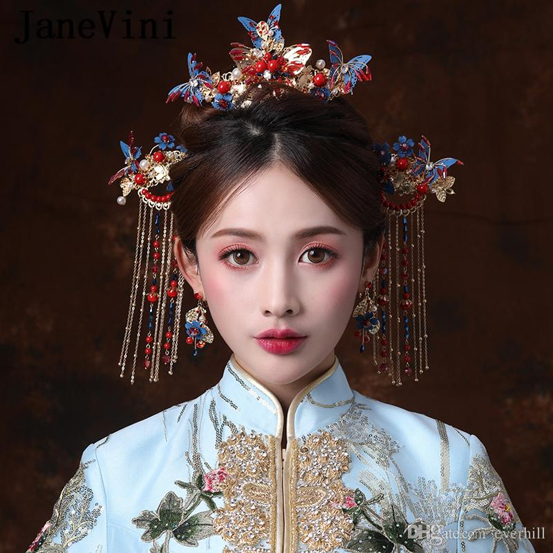 JaneVini Vintage Chinese Style Bridal Headdress with Earrings Ancient Blue Butterfly Hairpins Beaded Women Wedding Jewelry Hair Accessories