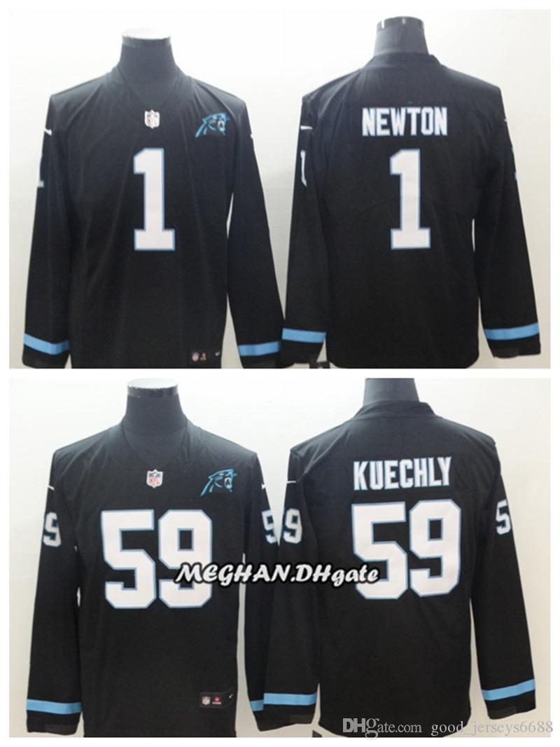 cheap for discount 1d814 e5dfa Carolina Men Women Panthers 1 Cam Newton Jersey 59 Luke Kuechly Therma  American Football Long Sleeve Jersey