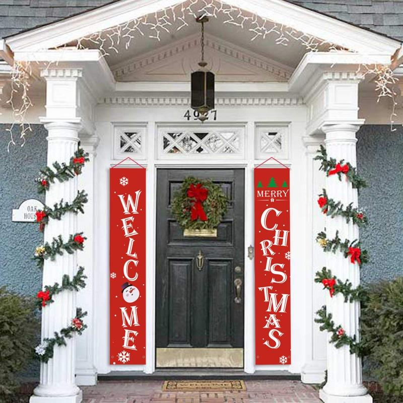 Christmas Door.Holiday Christmas Door Curtain Christmas Curtain For Home Door Window Couplet Festive Decor Welcome Friend Relative