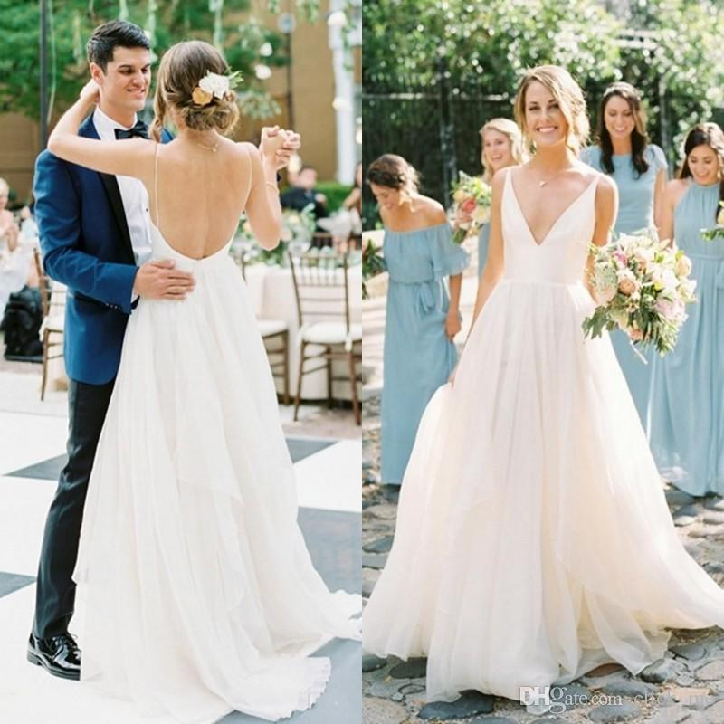 1ad8b465f62 Discount Simple Beach Wedding Dresses Straps Deep V Neck Sexy Backless  Wedding Dress Floor Length Spring Summer Wear Bridal Gowns Country Style  Wedding ...