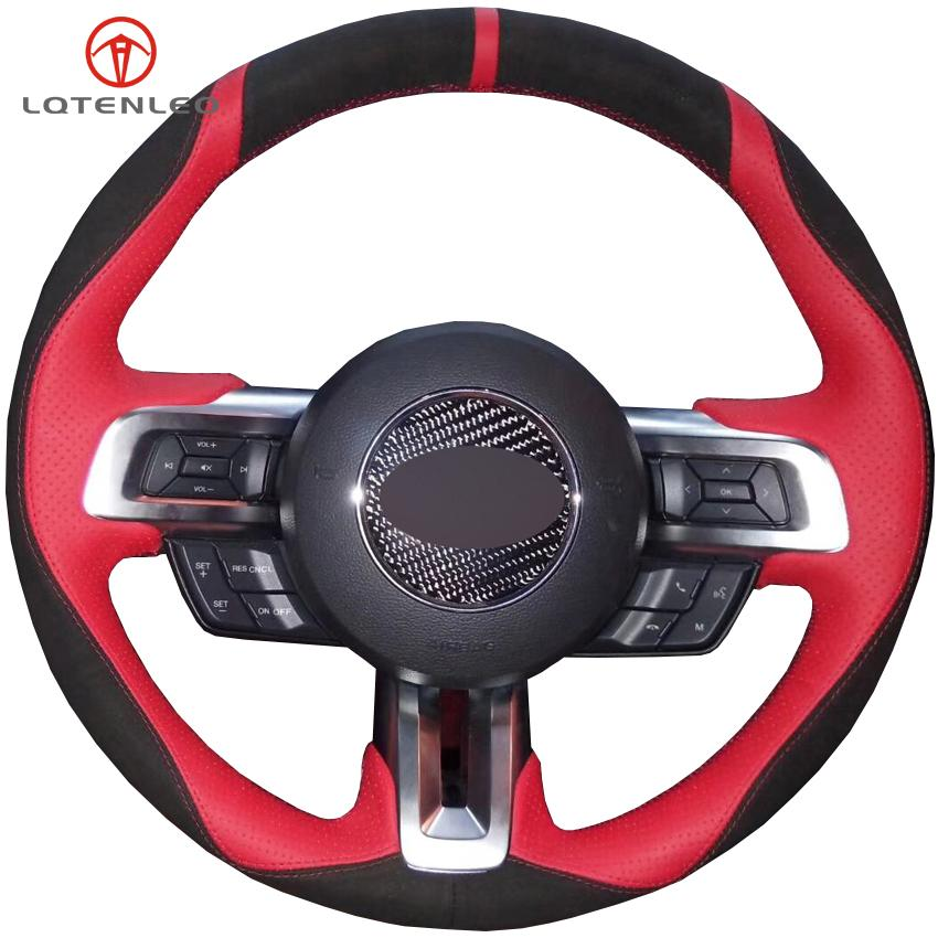 LQTENLEO Black Suede Red Leather Hand-stitched Car Steering Wheel Cover For Mustang 2015-2020 Mustang GT GT350R 2015-2020
