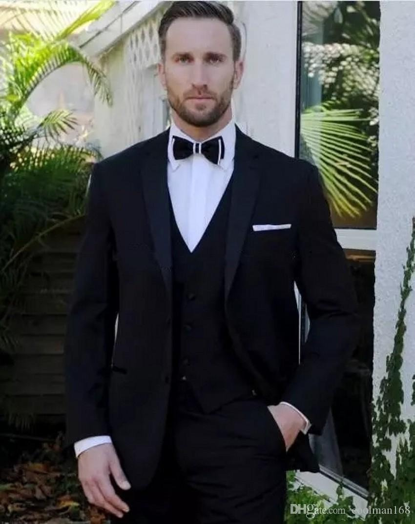 Royal Black Groom Tuxedos Notch Lapel Slim Fit Groomsmen Mens Wedding Dress Excellent Man Jacket Blazer 3 Piece Suit(Jacket+Pants+Vest+Tie)9