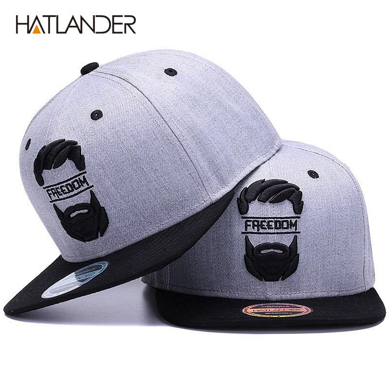 8bc8daa52 Hatlander Original Snapback Cap Men Flat Brim Bone Baseball Caps Embroidery  Mustache Mens Hat Youth Street Ware Cool Hip Hop Cap C19022301
