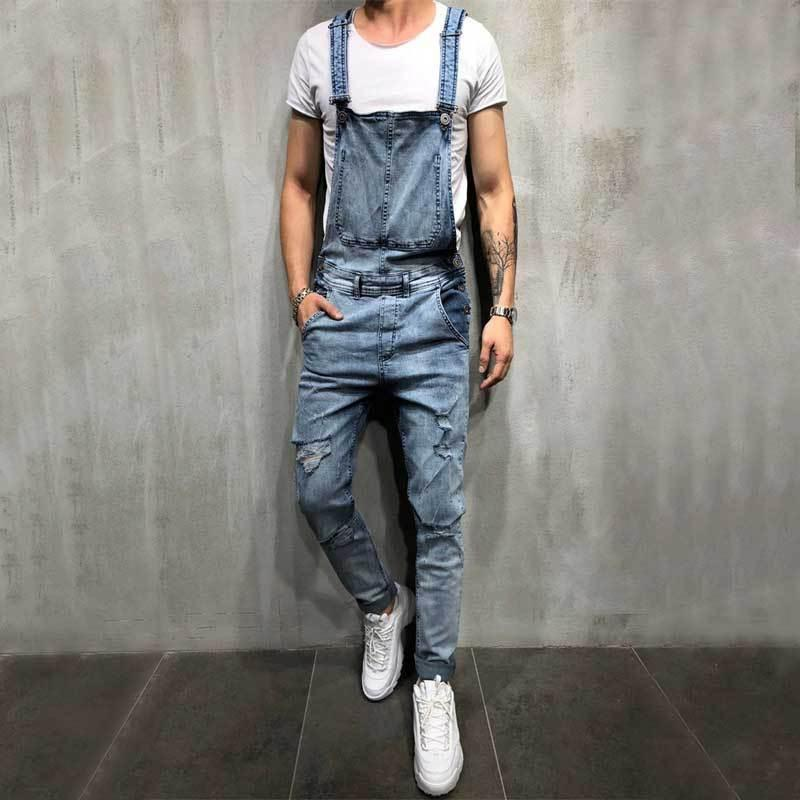 first look exceptional range of colors limited guantity Drop Shipping Jeans Overalls Casual Comfort Overalls Men s Denim Carpenter  Pants Hot Sale Male Moto Biker Holes Pants