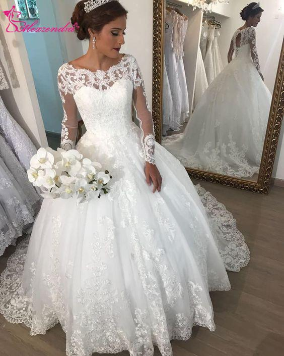 Wholesale Ball Gown Lace Elegant Wedding Dresses For Bride Lace Up