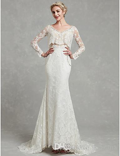 2019 mermaid wedding dresses V-neck lace prints lace decoration sexy beautiful wedding dress Robes De Mariee