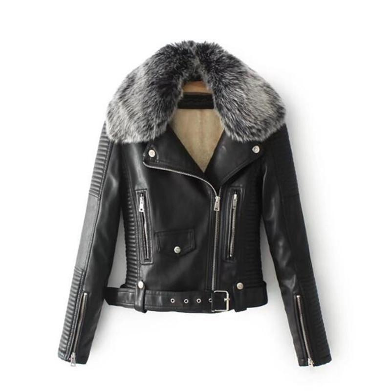 Autumn/winter Plus Velvet Fur Collar PU Leather Women Short Coat Motorcycle Leather Jackets Casual Coats Women Jackets