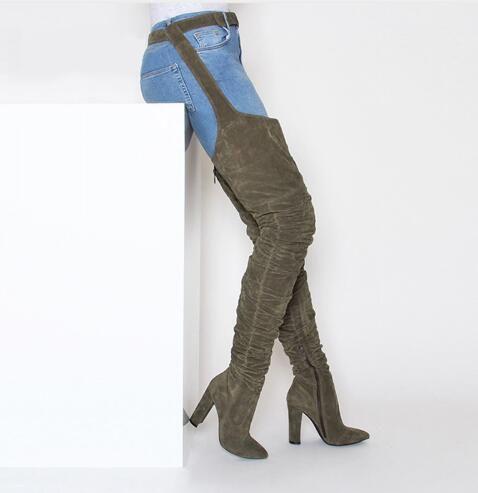 02226e11bb0681 Großhandel 2019 Neue Mode Frauen Stiefel Winter Über Knie Lange Stiefel  Fersen Faux Wildleder Qualität Komfort Block Fersen Schlanke Enge Frauen  Stiefel Von ...