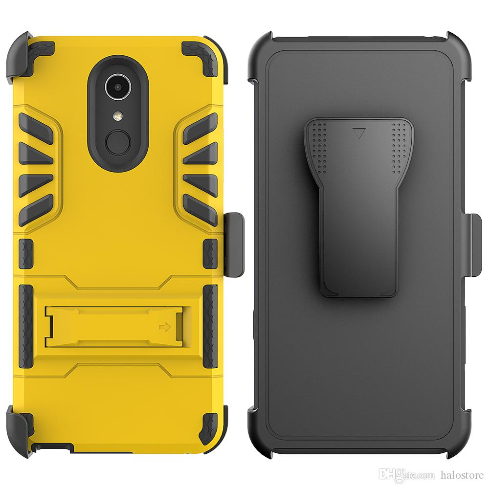 For LG Q7 Plus Aristo Lv3 X Style Tribute 2 IVI Holster Shock Absorbing  Secure Locking Clip Defender With Kickstand Cover Case