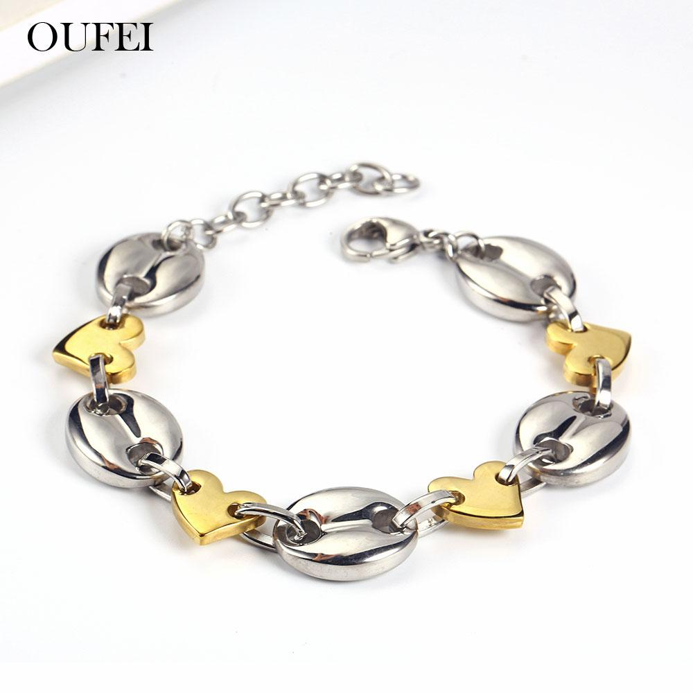 OUFEI Chain Link Bracelets Bangles Stainless Steel Jewelry Woman Vogue 2019 Bracelets For Women Jewelry Accessories