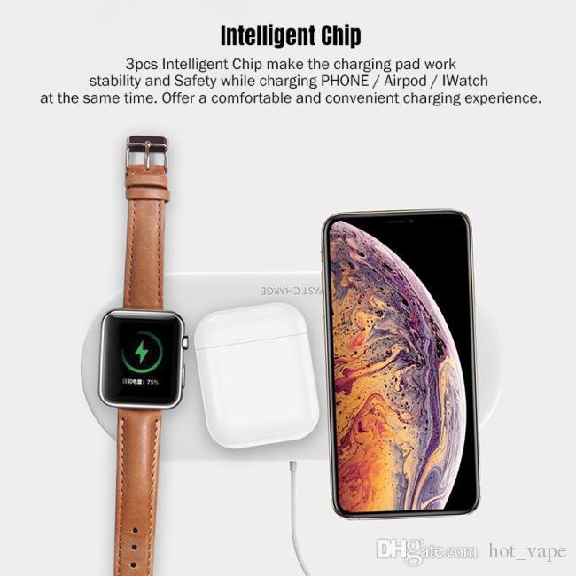 Min.QI 보편적 인 무선 충전기 패드 3에서 1 10w 고속 충전을 위해 휴대 전화 애플 시리즈 시계 무선 이어폰 블루투스