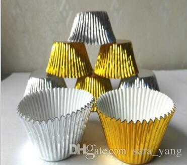 Baking Gold/Silver foil paper holder medium oil cake Medium Cupcake liner Muffin Liners Papers Baking Cups cakecup 3.5cm lin4451