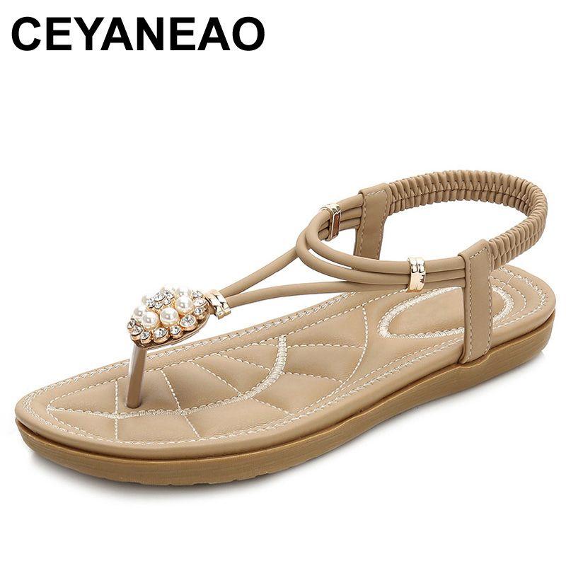 37ea9294bf0e CEYANEAO 2019 Woman Sandals 2018 Summer Bohemia Beach Sandals Women Flat  Platform Flip Flops Sandalias Non Slip SandalsE1828 Pink Shoes Salt Water  Sandals ...
