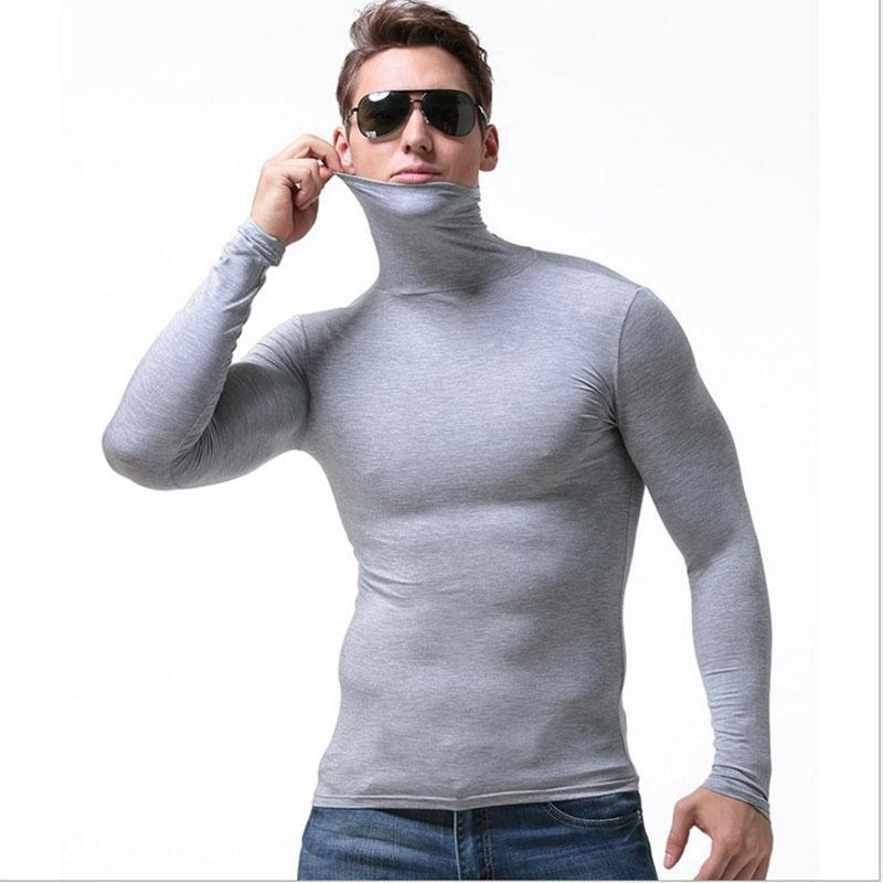 men tshirt man t shirt sexy slim tight turtleneck t shirts tops mens modal long sleeve t-shirt free match thermal t-shirts