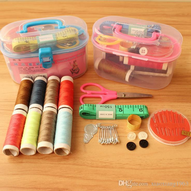 Sewing Tools Kit Crochet Full Set Threader Needle Measure Tape Scissor Kit Mini Travel Plastic Sewing Kit Tool with Storage Box