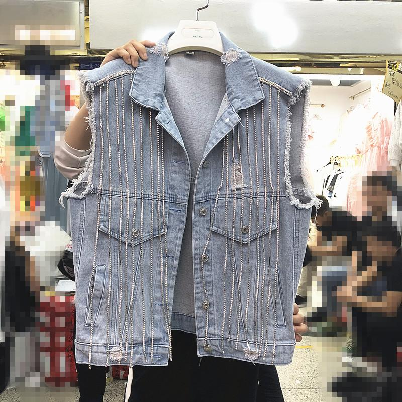 68a3761d02586 2019 2019 Spring New Heavy Water Drills Chain Cowboy Vest Women Sleeveless  Denim Jacket Female Loose Jean Waistcoat Girls Denim Coat From Sebastiani