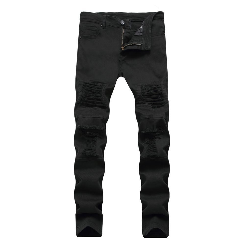 Acheter Jeans De Motard Déchiré Blanc Et Noir Avec Des Trous Skinny Slim  Fit Détruit Des Pantalons En Denim En Détresse Pour Les Pantalons Pour  Hommes De ... af16b7e3ac17