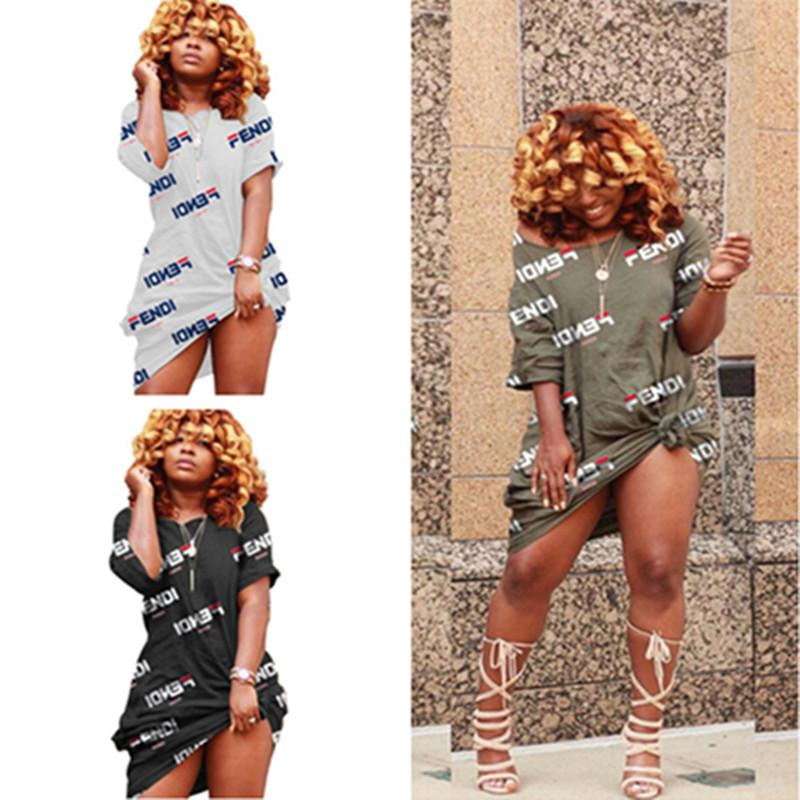 Women Short Sleeve Loose T Shirt Dress F Letter Print Off Shoulder Mini Shirt Skirts Mid Length T shirt Dresses Sports Clubwear A42606