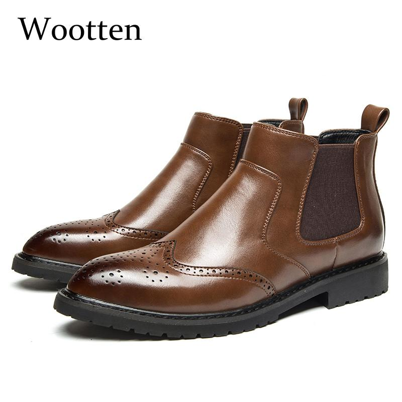 2019 Men Winter Shoes Formal High Top Adult Leather Fashion Genuine