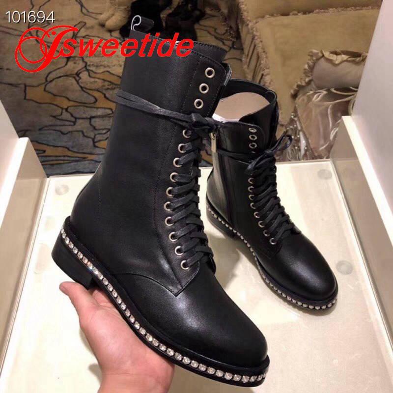 Kniehohe Stiefel Echtes Leder Frauen Winter Herbst Freizeit Schnüren Stiefeletten Marke Australien High Heels Warme Schwarze WeYIEH29bD