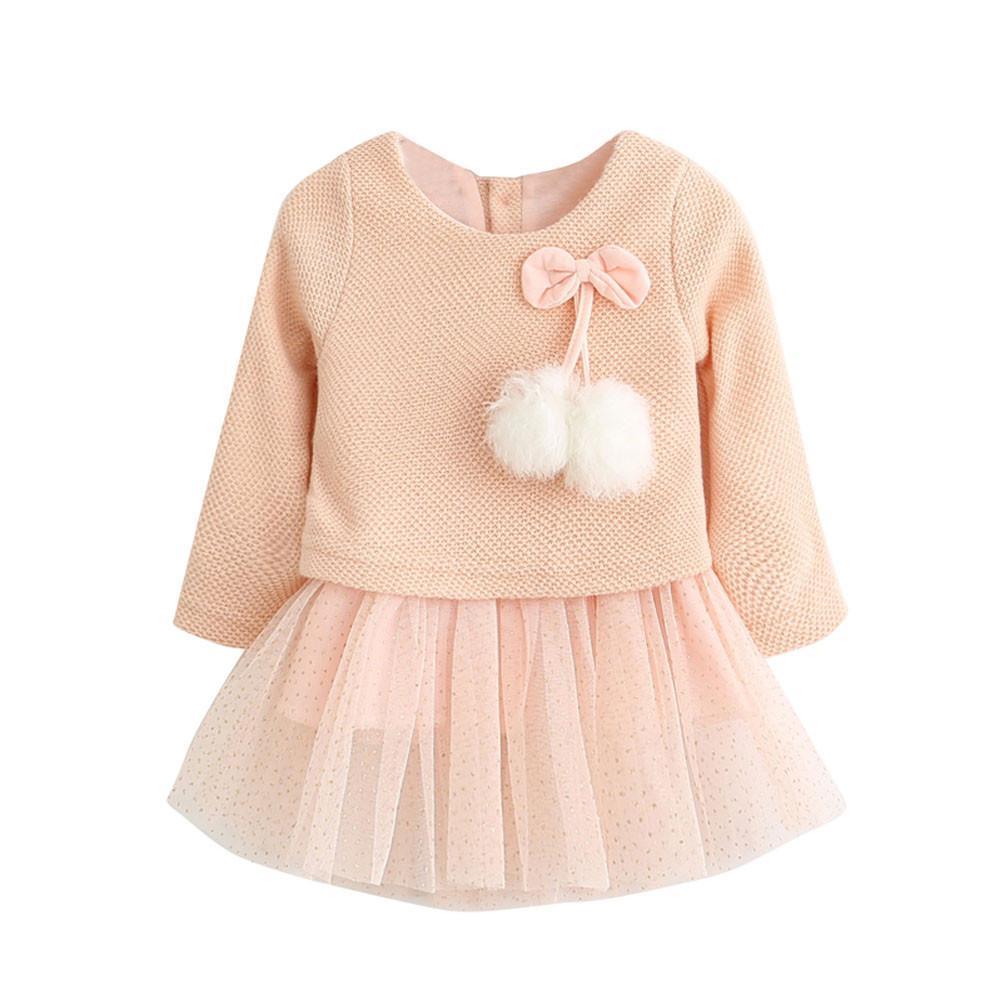 5e00d81d75f 2019 Good Quality Knitting Wool Yarn The Net Hot Dress Toddler Baby Kid Girls  Long Sleeve Knitted Bow Newborn Tutu Princess Dress 0 24M From Textgoods02,  ...