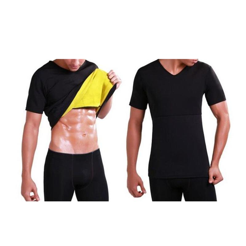 HIRIGIN Men's Gym Neoprene Vest Sauna Ultra thin Sweat Shirt Body Shaper slimming Corset Men Shaping Short Sleeves Tee