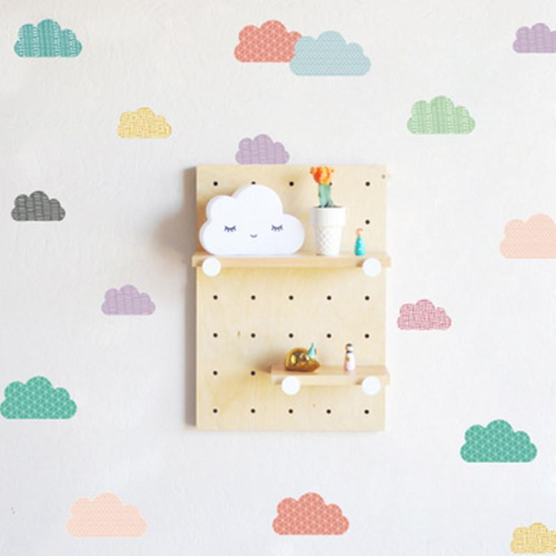 Nordic Clouds Unicorn Wall Stickers DIY Cute Kids Room Decoration PVC Trees Stickers ins Style Home Decor