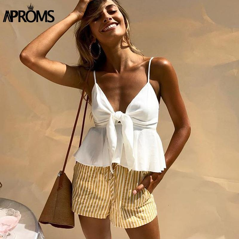 0ffdfbcdcf7 2019 Aproms Sexy Bow Tie Up Smocked Camis 2019 Strap V Neck White Tank Tops  Women Summer Streetwear Cool Peplum Crop Top Camisole J190427 From Tubi02,  ...