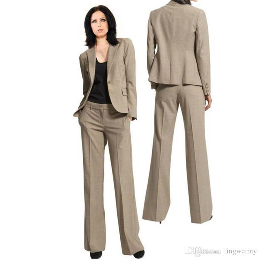 b7706c8e5 Compre Para Mujer Ropa Formal Trajes De Pantalón Por Encargo De Las Mujeres  Señoras Por Encargo De La Oficina De Negocios Tuxedos Ropa De Trabajo  Nuevos ...