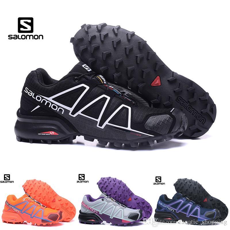f2e301a8b0a Acheter Salomon Speed Cross 4 IV CS Chaussures De Randonnée Pour Femme  Zapatos Hombre SpeedCross 4s Noir Pourpre Orange Plein Air Sportif Sneakers  De ...