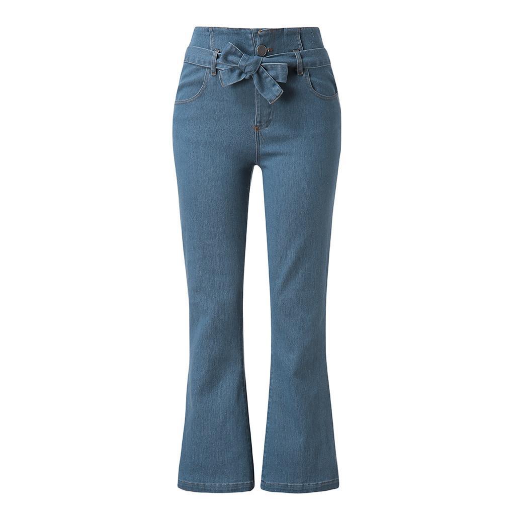 l'atteggiamento migliore dff83 ee047 Pantaloni jeans delle donne pantaloni a trombetta autunno tratto fascia  elastica in vita alta pantaloni larghi 2019 pantaloni nuovi # YL1