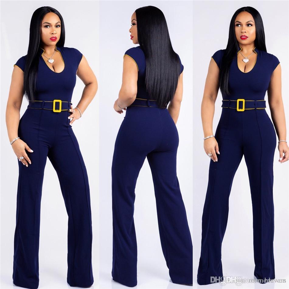 4b060251ab Women Jumpsuit Long Pants Rompers Sleeveless V-neck 2019 Summer Wide ...