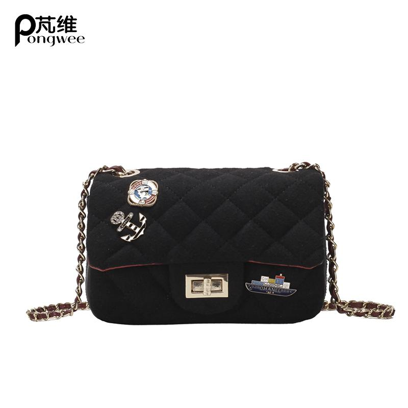 eea70c4626 PONGWEE Women S Mini Shoulder Bag New Small Woolen Swtitching Rhombic  Handbag Fashion Badge Luxury Crossbody Chain Bag Wholesale Shoulder Bags  Handbags On ...