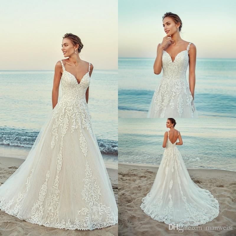 5917cee14f Discount Eddy K 2019 Wedding Dresses Lace Appliqued Bohemian Beach Bridal  Gowns Boho A Line Sexy Spaghetti Neck Wedding Dress Plus Size Monique  Lhuillier ...