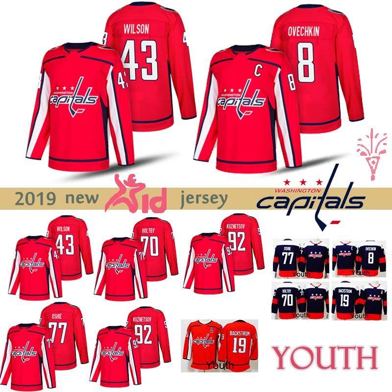 be52e4ad758 2019 YOUTH Washington Capitals Jerseys 8 Alex Ovechkin 77 T.J. Oshie 92  Evgeny Kuznetsov 19 Nicklas 43 Tom Hockey Jerseys Kids From  Best_jerseys_store, ...