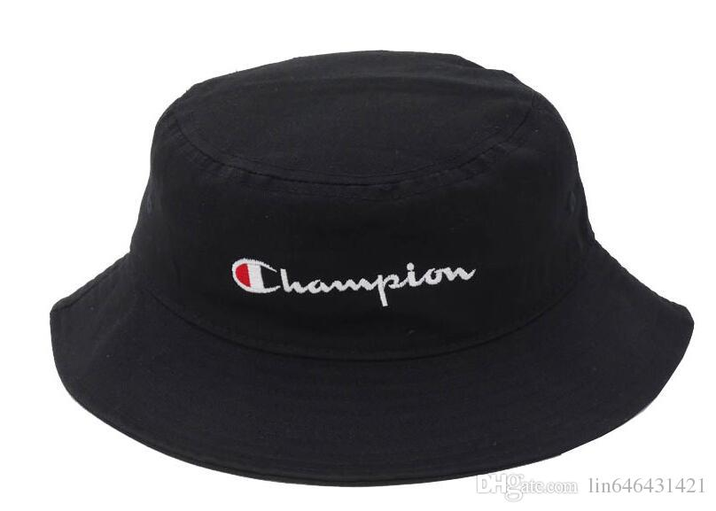 New Hot Champion Bucket Hat For Men Women Foldable Caps Black Fisherman Beach Sun Visor Sale Camping Fishing Hunting